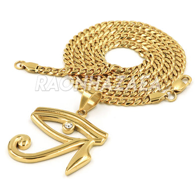 Stainless Steel Gold EYE OF HORUS Pendant W Cuban Chain - Raonhazae