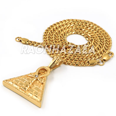 Hip Hop Stainless Steel Gold Ankh Cubic on Pyramid Pendant W Cuban Chain - Raonhazae