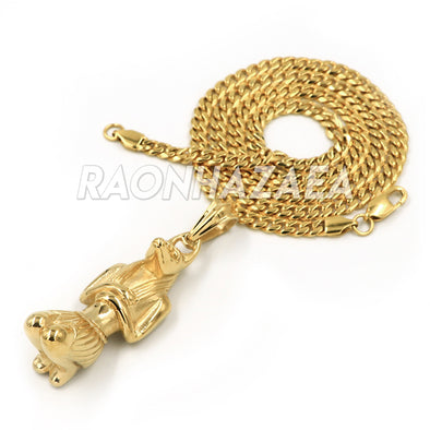 Hip Hop Stainless Steel Gold Egyptian RA Pendant W Cuban Chain - Raonhazae