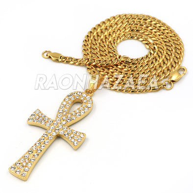 Hip Hop Stainless Steel Gold Egyptian Ankh Cross Pendant W Cuban Chain - Raonhazae