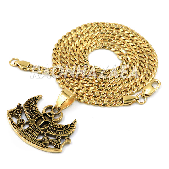 Hip Hop Stainless Steel Gold Egyptian Scarab Beetle Pendant W Cuban Chain - Raonhazae