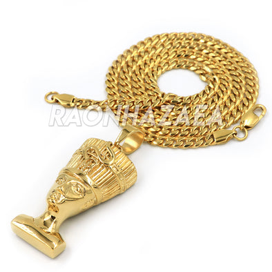 Hip Hop Stainless Steel Gold Egyptian Queen Nefertiti Pendant W Cuban Chain - Raonhazae