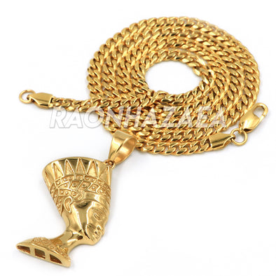 Hip Hop Iced Stainless Steel Gold Egyptian Nefertiti Side Pendant W Cuban Chain - Raonhazae