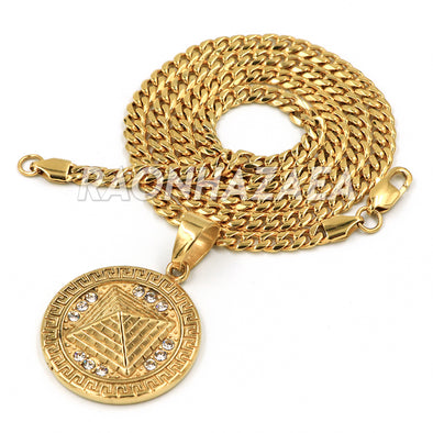 Hip Hop Iced Stainless Steel Gold Medallion 3D Pendant W Cuban Chain - Raonhazae