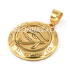 Hip Hop Stainless Steel Gold Round Eye of Horus Medal Pendant W Cuban Chain - Raonhazae
