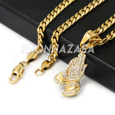Hip Hop Iced Stainless Steel Gold Praying Hands Pendant /W Cuban Chain - Raonhazae