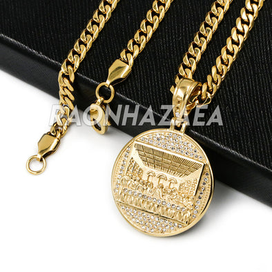 Hip Hop Iced Stainless Steel Gold Medallion Last Supper 3D Pendant W Cuban Chain - Raonhazae