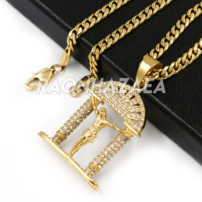 Hip Hop Iced Stainless Steel Gold / Silver Jesus Crucifix Pendant W Cuban Chain - Raonhazae