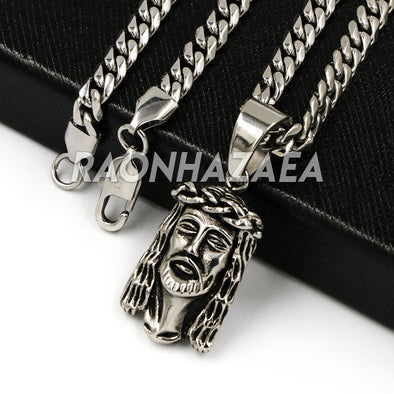 Hip Hop Iced Stainless Steel Silver Anchor Jesus Crucifix Pendant /W Cuban Chain - Raonhazae