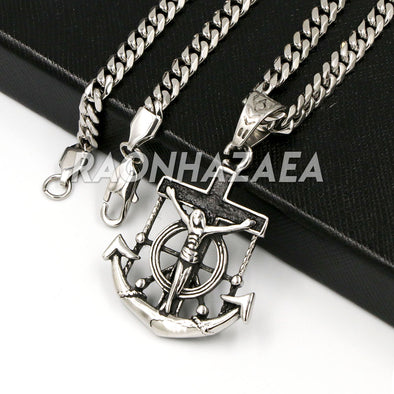 Hip Hop Iced Stainless Steel Silver Anchor Jesus Crucifix Pendant /W Cuban Chain. - Raonhazae