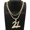 Hip Hop 21 SAVAGE Pendant W/ Franco Chain / Tennis Choker Chain - Raonhazae