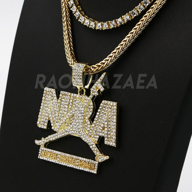 Hip Hop NEVER BROKE AGAIN Exclusive Pendant W/ Franco & Tennis Choker Chain Set - Raonhazae