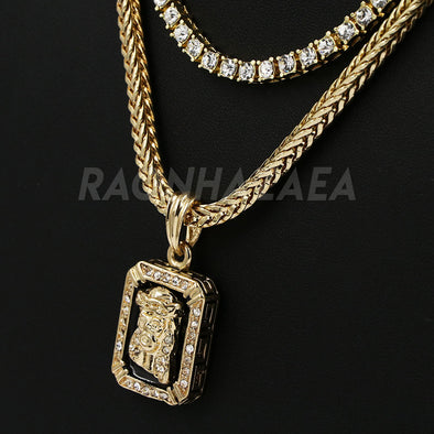 Hip Hop DARK JESUS FACE Exclusive Pendant W/ Franco & Tennis Choker Chain Set - Raonhazae