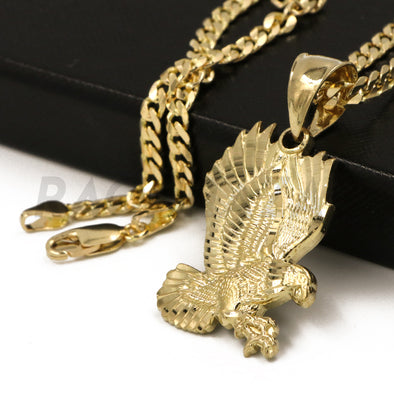 "Solid Brass Gold Diamond Cut Eagle Pendant w/ 5mm 24"" Concave Cuban Chain B01G"
