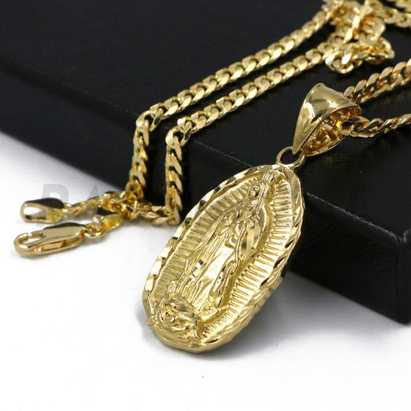 "Solid Brass Gold Diamond Cut Our Lady of Guadalupe Pendant w/ 5mm 24"" Concave Cuban Chain B04G - Raonhazae"