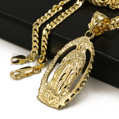 "Solid Brass Gold Diamond Cut Our Lady of Guadalupe Halo Pendant w/ 5mm 24"" Concave Cuban Chain B05G - Raonhazae"