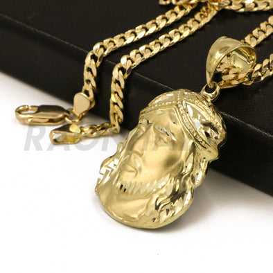 "Solid Brass Gold Diamond Cut Jesus Face Pendant w/ 5mm 24"" Concave Cuban Chain B06G - Raonhazae"