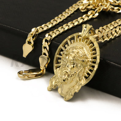"Solid Brass Gold Diamond Cut Jesus Face Halo Pendant w/ 5mm 24"" Concave Cuban Chain B07G - Raonhazae"