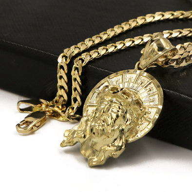 "Solid Brass Gold Diamond Cut Jesus Face Halo Pendant Solid w/ 5mm 24"" Concave Cuban Chain B08G"