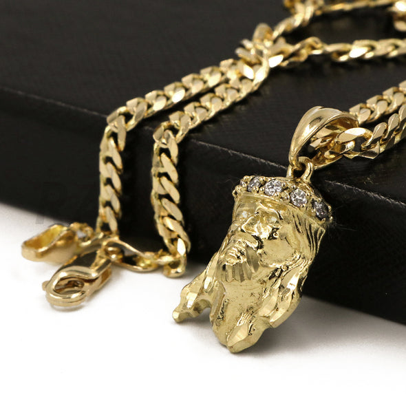 "Solid Brass Gold Diamond Cut Small Jesus Face Pendant Solid w/ 5mm 24"" Concave Cuban Chain B09G - Raonhazae"