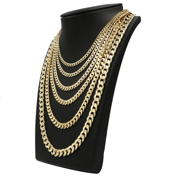 "Raonhazae 14K Gold Plated Concave Cuban Necklace Chain (4-10m) W/ 8""/9""/24""/30"" - Raonhazae"