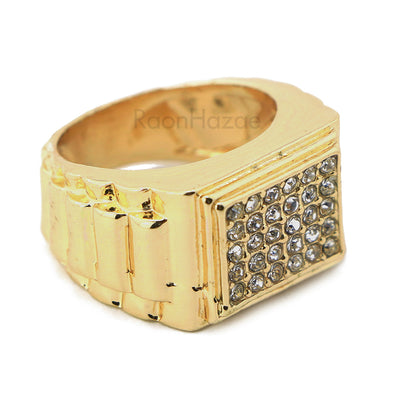 "HIP HOP FASHION ICED OUT SOLID ""CLASSIC"" GOLD PLATED RING BK003G - Raonhazae"