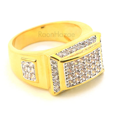 MEN'S ICED OUT HIP HOP LAB DIAMOND MIGOS BRASS RING SIZE 8-12 BR001G - Raonhazae