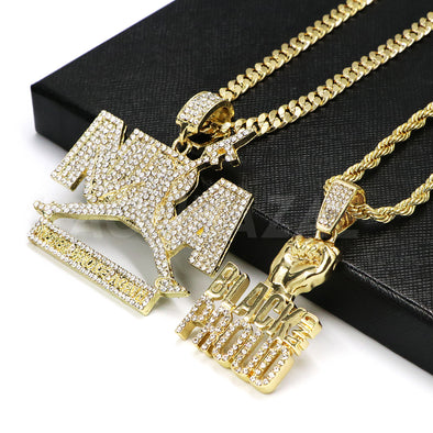 NBA Never Broke again Pendant/ W Black and Proud Fist Pendant Rope Chain Set - Raonhazae