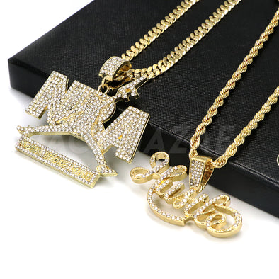 14k Gold NBA Never Broke Again / Hustle Pendant W/Cuban and Rope Chain Set - Raonhazae