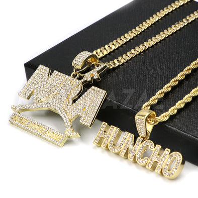 NEW NBA NEVER BROKE AGAIN HUNCHO Pendant W/ Cuban and Rope Chain Set - Raonhazae