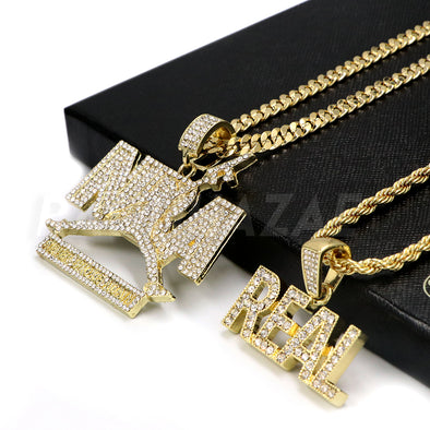 NBA (NEVER BROKE AGAIN) / REAL Pendant W/ Cuban and Rope Chain Set - Raonhazae