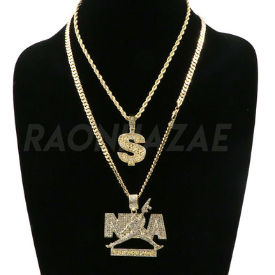 NBA NEVER BROKE AGAIN / DOLLAR SIGN Pendant W/ Cuban and Rope Chain Set. - Raonhazae