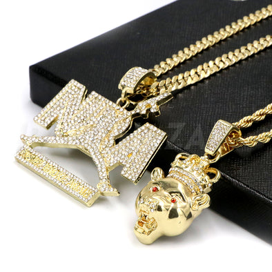 NBA NEVER BROKE AGAIN / LION CROWN Pendant W/ Cuban & Rope Chain Set. - Raonhazae