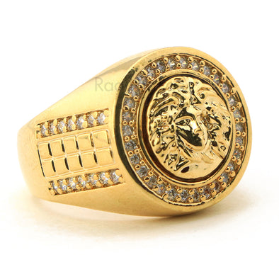 MEN'S ICED OUT HIP HOP LAB DIAMOND MEDUSA BRASS RING SIZE 8-12 BR002G - Raonhazae
