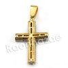 Lab diamond Micro Pave Gold PT Uzi Cross Pendant w/ Miami Cuban Chain B24G - Raonhazae