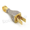 Copy of Lab diamond Micro Pave Gold PT Electric Plug Pendant w/ Miami Cuban Chain B24G - Raonhazae