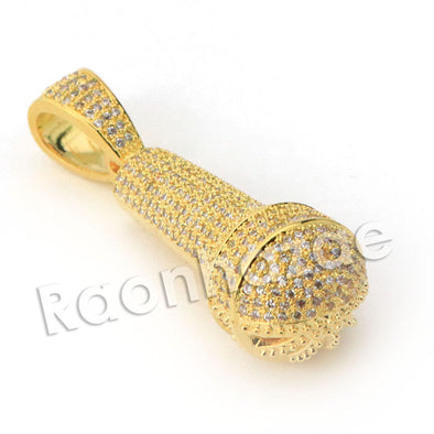 Copy of Lab diamond Micro Pave Gold PT MC Ren Mic Pendant w/ Miami Cuban Chain B24G - Raonhazae
