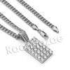 Lab diamond Micro Pave Rectangular Ice Pendant w/ Miami Cuban Chain BR010 - Raonhazae