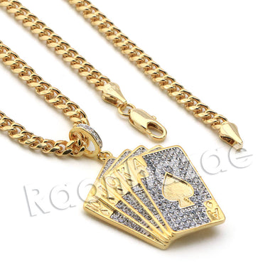 Lab diamond Micro Pave Shuffle Playing Cards Pendant w/ Miami Cuban Chain BR023 - Raonhazae