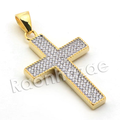 Lab diamond Micro Pave Textured Jesus Cross Pendant w/ Miami Cuban Chain BR026 - Raonhazae
