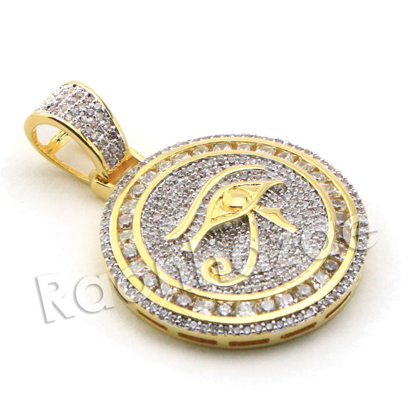Lab diamond Micro Pave Rounded Eye of Horus Pendant w/ Miami Cuban Chain BR036 - Raonhazae