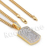 Lab diamond Micro Pave Grid Dog Tag Pendant w/ Miami Cuban Chain BR052 - Raonhazae