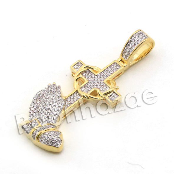Lab diamond Micro Pave Jesus Cross Praying Pendant w/ Miami Cuban Chain BR059 - Raonhazae
