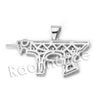 Lab diamond Micro Pave Gangsta Machine Gun Pendant w/ Rope Chain BR072 - Raonhazae
