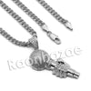 Lab diamond Micro Pave Fiend of a Microphone Pendant w/ Miami Cuban Chain BR077 - Raonhazae