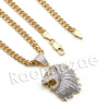 Lab diamond Micro Pave Inglorious Lion Roar Pendant w/ Miami Cuban Chain BR079 - Raonhazae