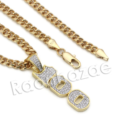 Lab diamond Micro Pave 100 Sign Pendant w/ Miami Cuban Chain BR080 - Raonhazae