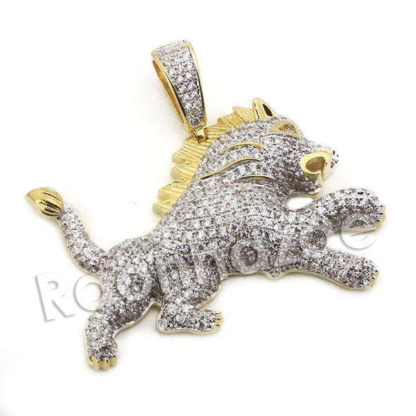 Lab diamond Micro Pave Ferocious Lion King Pendant w/ Miami Cuban Chain BR084 - Raonhazae