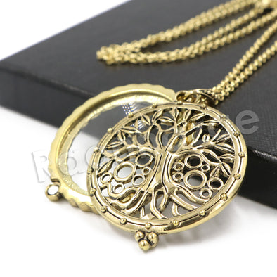 Antique Chain Tree of Life Magnifying Glass Locket Pendant Necklace - Raonhazae
