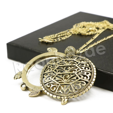 Antique Chain Vintage Turtoise Magnifying Glass Locket Pendant Necklace - Raonhazae